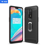 1+6 Silicone TPU Carbon Fiber Cases For Oneplus 6 Magnetic Car Phone Mount Ring Stand Holder For Oneplus 6 Soft Case Coque