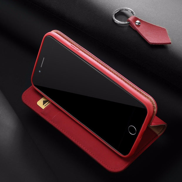 100% Genuine Luxury Flip PU Leather Silicon Cover For IPhone 7 Case 4.7 Inch Protective Phone Bags Case For IPhone 8 Wallet Case
