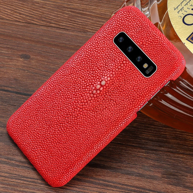 100%Natural Pearl Fish For Samsung S10 Case S7 S8 S9 Luxury Leather Case Suitable For Men And Women Shockproof Wear Resistant