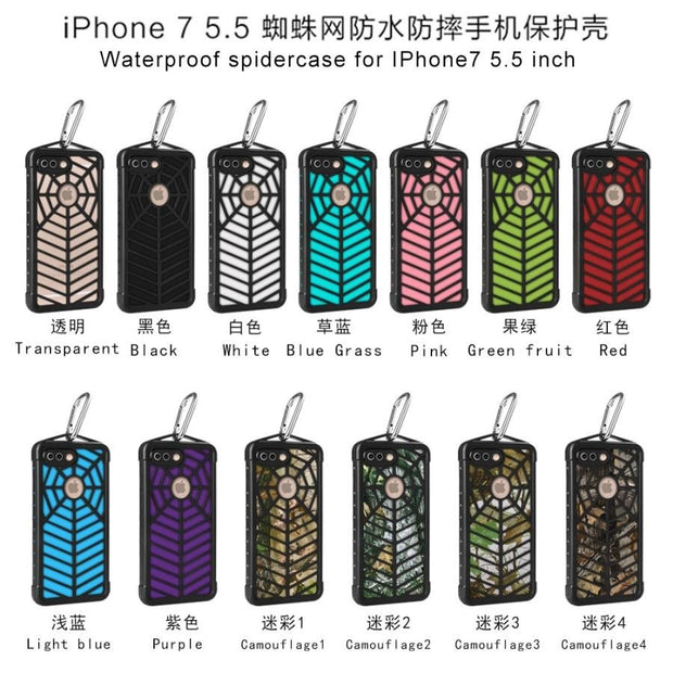 10PCS/Lot Waterproof Spider Web Phone Case For Iphone 7 7Plus Swimming Diving Climbing Outdoor Sports Cell Phone Cover Free DHL