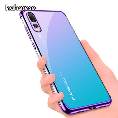 10pcs 2 In 1 Eletroplated Slim Soft TPU Transparent Case For Huawei P20 Pro P20 10 9 Plus Lite 8 2017 Plating Shonkproof Cover