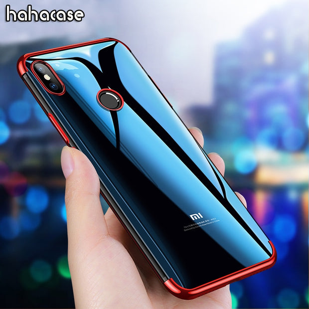 10pcs 2 In 1 Eletroplating TPU Soft Transparent Case For Xiaomi Mi8 SE A2 A1 6 Note 3 Mix 2S Shockproof Plating Crystal Cover