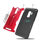 10pcs 2 In 1 Hybrid Rugged With Card Slot Case For Samsung Note 9 8 S9 8 Plus A8 A6 Plus A7 A5 2017 2018 Metal Kickstand Cover