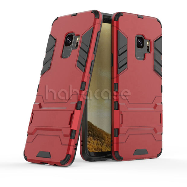 10pcs 2 In 1 Kickstand Hybrid TPU + PC Stand Holder Case For Samsung S10 E S8 S7 Plus Note 9 8 Shockproof Rugged Armor Cover