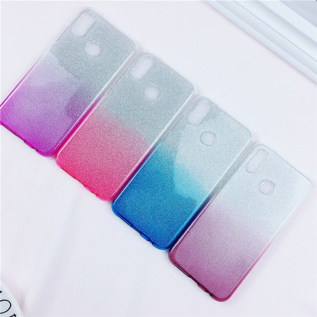 10pcs 3 IN 1 Gradient Glitter Shiny Clear Case For Huawei P20 Pro P10 P9 Lite Plus Honor V10 9 8 Hard PC+Soft TPU Bling Cover