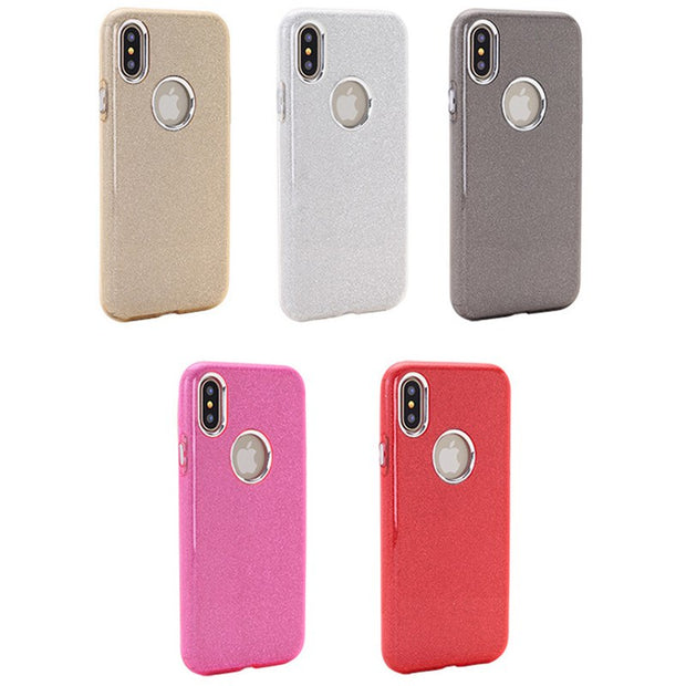 10pcs 3in1 Glitter Bling Case Shockproof Protective Hybrid TPU+ PC For IPhone XS X 8 7 6 6S Plus Colorful Flash Sparkling Cover
