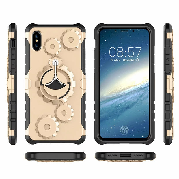 10pcs Armor Kickstand Case For IPhone X 8 7 6S 6 Plus 5S SE Hard Hybrid Plastic Shockproof Combo Features Gears Cover