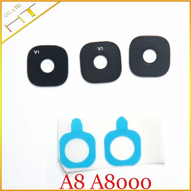 10pcs Glass Material Back Main Camera Ring Cover Lens With Sticker For Samsung Galaxy A8000 A8