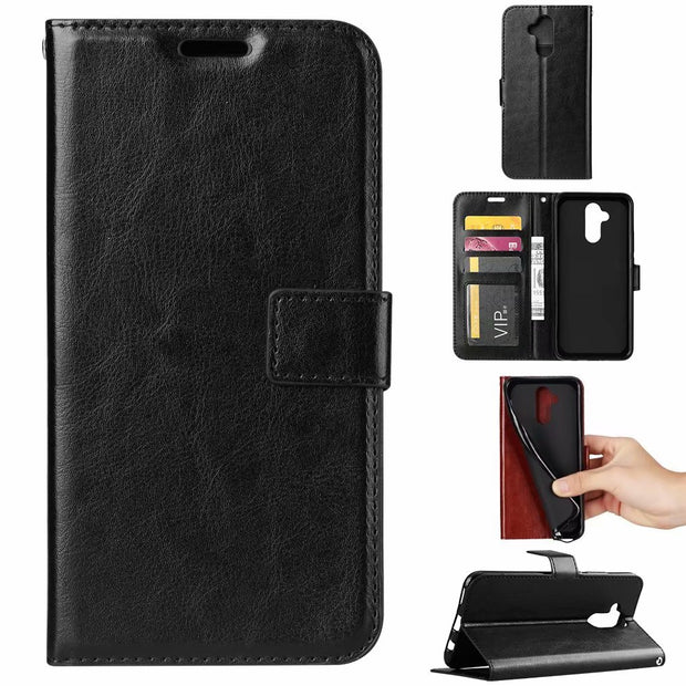 10pcs/lot Crazy Horse Wallet Leather Stand PU+TPU Cover Stand Case With Card Slot For Huawei Mate 20 Lite Nova 3i P Smart
