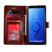 10pcs/lot New Crazy Horse Grain Wallet PU Leather Case Cover For Samsung Galaxy S9 Card Holder