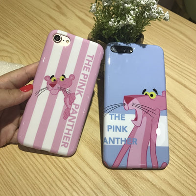 10pcs/lot Stylish Pink Panther Glossy Soft TPU Back Cover Case For IPhoneX 8/6s 7plus Skinny Shell Protection