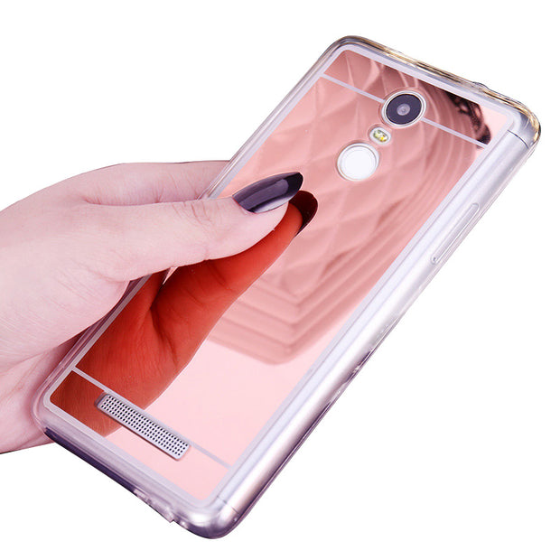 10pcs/lot Ultra Slim Mirror Electroplating Soft Clear TPU Back Case For Xiaomi Hongmi Red Mi Note 1 Note 3 Protector Cover