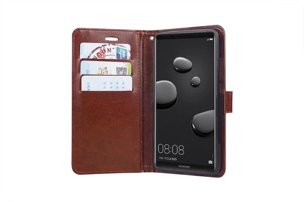 10pcs/lot Free Shipping Book Style Crazy Horse Lines Leather Wallet Case For Sony Xperia XZ1/XZ1 Compact/XA1/XA1PLUS/XA1 ULTRA