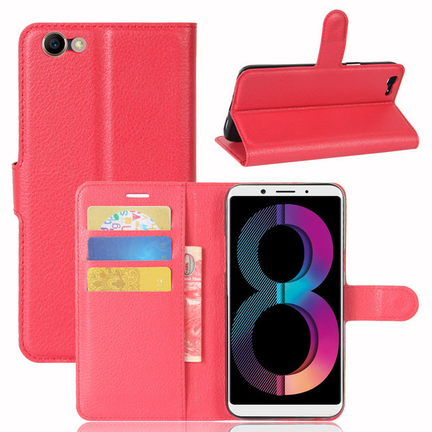 10pcs/lot Free Shipping Litchi Grain Wallet Leather Case With Card Holder For OPPO R11SPLUS/ A83