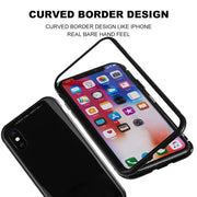 1PC Magnetic Adsorption Metal Bumper Phone Case For IPhone X 7 8 Plus Luxury Back Cover Tempered Glass Back Ultra Thin