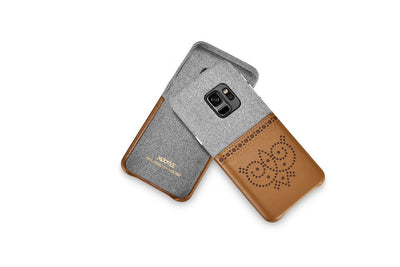 "(1PC) XOOMZ Brand Leather + Canvas Owl Series Phones Case For Samsung Galaxy S9 5.8"" Back Cover Coque New Cases Card Holder"