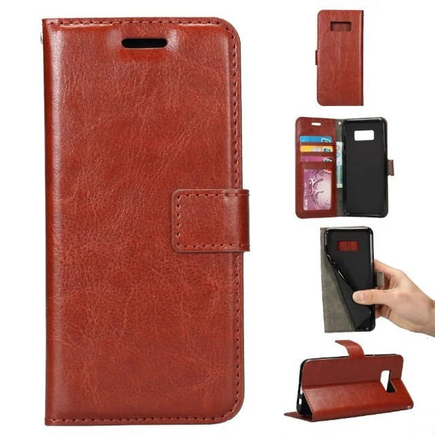 1pcs/lot Free Shipping Crazy Horse Grain Leather Wallet Case For Samsung S8 / S8 Plus With Credit Card Slot Holder
