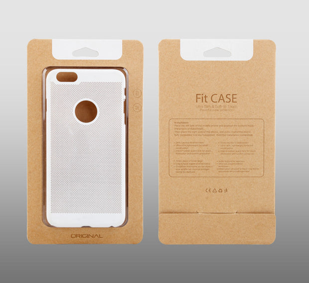 200 Pcs Wholesale Custom Logo Simple Kraft Paper With Transparent Plastic Packaging Box For Phone Case For IPhone 6s 6 Plus