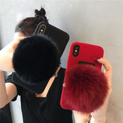 2018 Cotton Plain Fox Hair Silicone Back Fitted Case For Iphone 6G/6plus/7G/8plus,Soft TPU Cover For Iphone X/XS/XR/XS Max Case