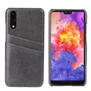 2018 NEW! For Huawei P20 Luxury Oil Wax Card PU Leather Back Hard Case Holder Back Cover