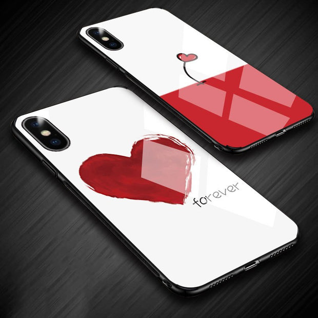 2018 New Fashion Tempered Glass Shell Red Love Heart Simple Mobile Phone Case For Phone 6 6s 6plus 7plus 8plus X Fashion Case