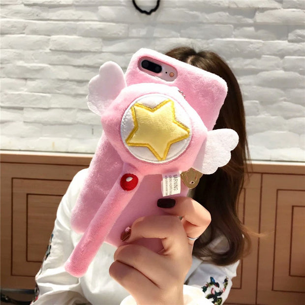 2018 Winter Plush Handwork TPU Back Case For IPhone X/XS/XR/XS MAX,Pink Silicone Cover For Iphone 6G/6plus/7G/8plus Fitted Case