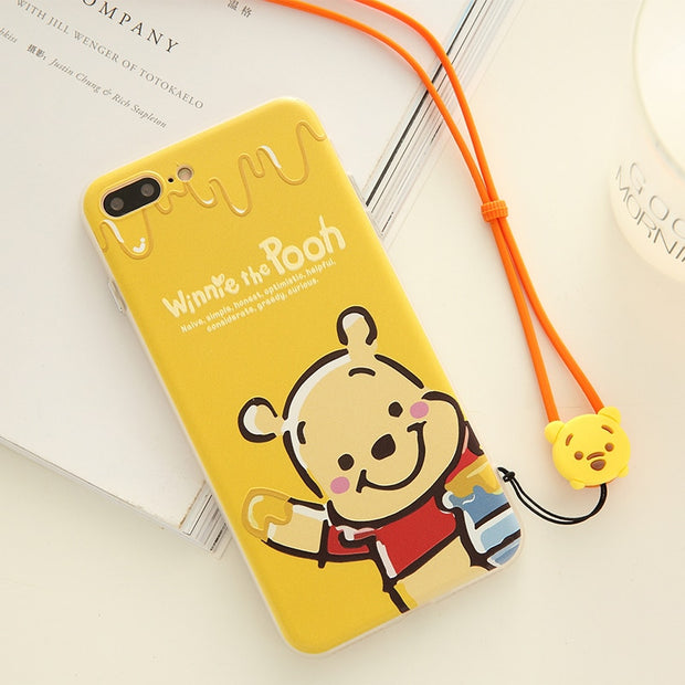 2pcs For IPhone 7 Cute Winnie Bear Back Case, For IPhone X 6 6s 7 8 Plus Hard PC Phone Cover With Soft Silicone Frame + Strap