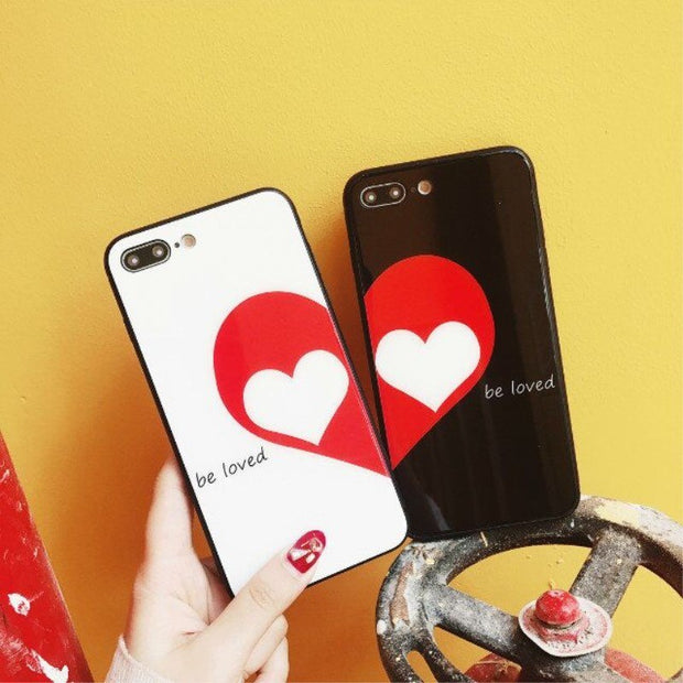 2pcs Hot Sale The Loved White/Black Color Tempered Glass Phone Case For IPhone X 7G 8G 7P 8P 6S 6P