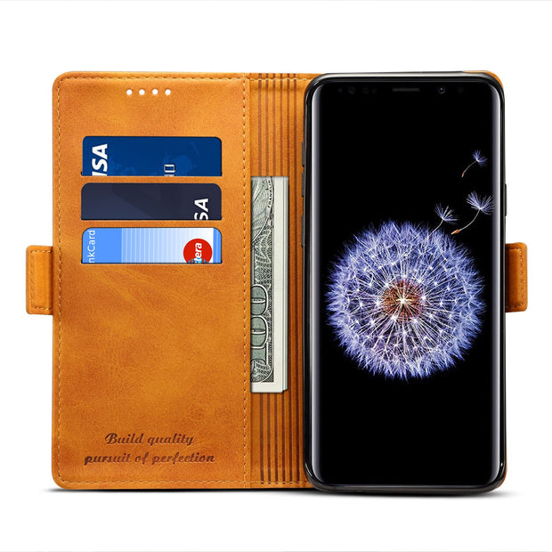 3 Colors Magnetic Flip Cover For Samsung Galaxy S9 / S9 Plus Vintage Retro Phone Case Wallet Bag With Card Pocket Kickstand