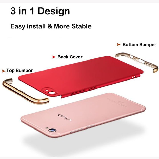 3 In 1 Case For Vivo Y67 Case Hard Back Cover Case For Vivo Y55 Case 360 Degree Protection Anti-knock Ultra Thin Slim Gold