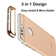 3 In 1 Mobile Case For Huawei Honor 8 Case 360 Degree Protection Hard Back Cover Ultra Thin Slim For Huawei Honor8 Capa Gold Red