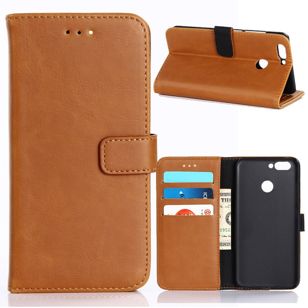 30pcs/lot Book Style Crazy Horse Stand Vintage Leather Case With 3 Card Slots For Huawei Nova 2