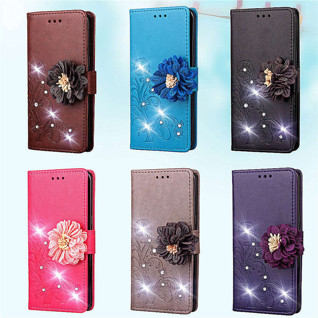 3D Bling Diamond Leather Wallet Case For Sony XZ4 Redmi Note 7 Huawei Nova 4 Enjoy 9 Honor 8A Galaxy A8S J7 DUO Flower 1PCS