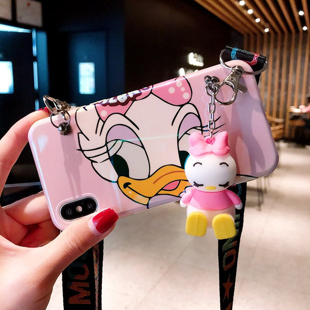 3D Cartoon Ducks Silicone Phone Case For Iphone 6 6s 7 8 Plus Hand Strap Cases For IPhone X XR XS MAX Back Cover Coque