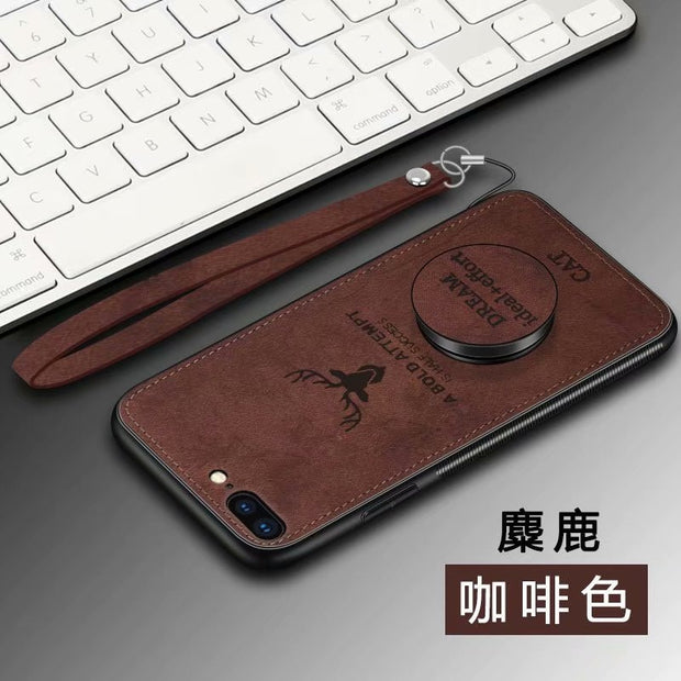 3D Elk Pattern Cover Rugged TPU Case For IPhone 6 6s Plus 7 8 Plus X Xs XR Xs Max Original Lanyard Car Magnetic Holder