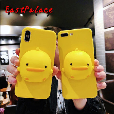 3D Kawaii Squishy Toys Yellow Duck Case For IPhone X 10 8 7 6 S 6s Plus Super Cute Cases Phone Shell Cover Capa