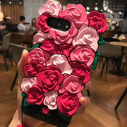 3D New Cute Romantic Rose Flowers Phone Case For IPhone XS MAX XR 8 7 Plus 6 6s Plus Soft Silicone Luxury Fashion Free Lanyard
