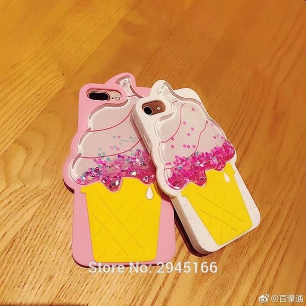 3D Ice Cream Dynamic Liquid Silicon Case For IPhone 6 6S 6SPlus 8 7 Plus Glitter Liquid Quicksand Silicone Phone Back Cover