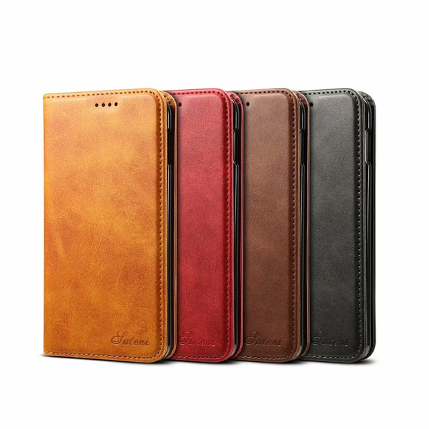 4 Colors For Samsung Galaxy S10 / S10 Plus S10+ / S10e Retro Leather Case Business Wallet Flip Phone Bags Cover Invisible Magnet