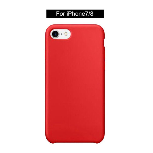 5 Pcs Shockproof Solid Red Color Imitation Liquid Silica Shell Mobile Phone Protective Case Cover For IPhone 7/8