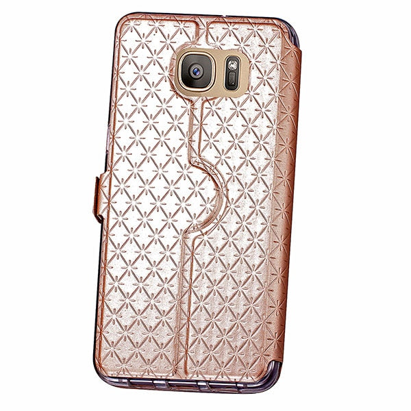 50pcs For Samsung Galaxy S8 S7 EDGE S6 Plus 2017 J5 J7 A3 A5 A320 2016 Thin Flip Leather Skin Case View Window Wallet Card TPU