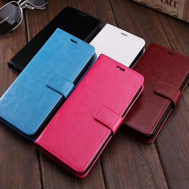 50pcs For Samsung J3/J5/J7 2016 Leather Case Crazy Horse Leather Wallet PU+TPU Case