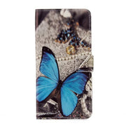 50pcs For Iphone 7/7 Plus/6/6 Plus/5/5s/SE Painted Butterfly Flower Wallet Pu Leather Case With 2 Card Slots Stand Cover