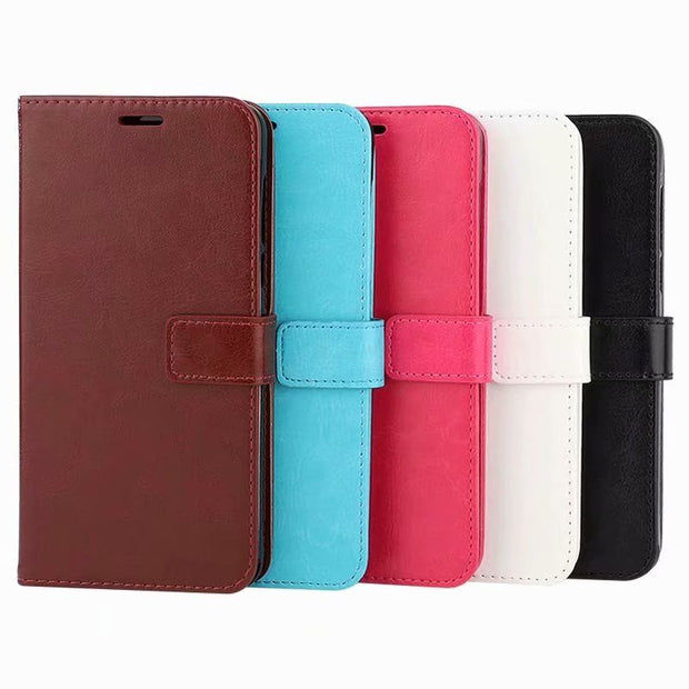 50pcs/lot Book Style Crazy Horse Leather Wallet Case For Xiaomi Redmi Note 7 6 Max Mix 2S 3 Pro Play 6A 6X 8 Se Pocophone F1