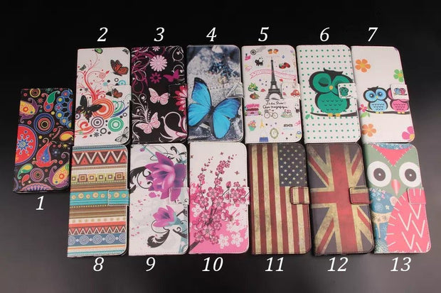 50pcs/lot Butterfly Flower Tower Design Wallet Leather Case For Sony Xperia XA XA1 XZ XZs XZ Premium L1