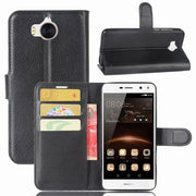 50pcs/lot Lichee Series Credit Card Slot Book Style Leather Case With Stand For Huawei Y5 2017
