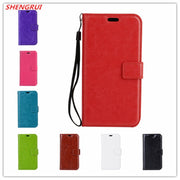 50pcs/lot New Crazy Horse Grain Wallet PU Leather Case Cover For Sony L1 XA XP XA1 XZ Premium X MINI Card Holder