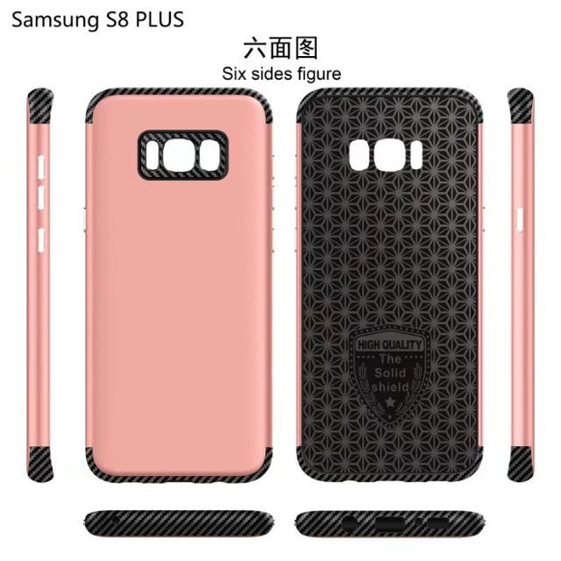 50pcs/lot For Samsung Galaxy S8/s8 Plus/J7 Prime/ON7 2016/J5 Prime/ON5 2016 Carbon Fiber Scrub Phone Case Two In One Phone Cover