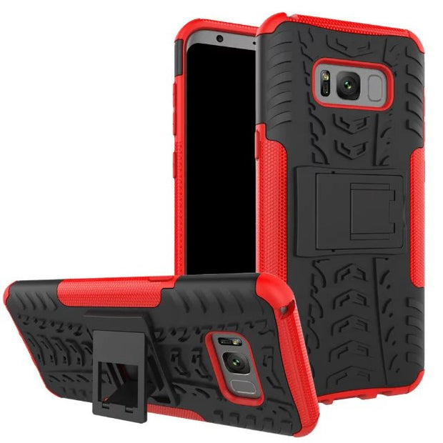 50pcs/lot Free Shipping 2 In 1 TPU+PC Hybrid Shock Proof Cover Case For Samsung S8 S8 Plus With Stand