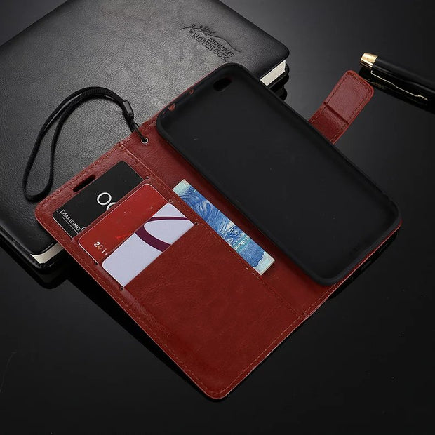 50pcs/lot Free Shipping Book Style Crazy Horse Lines Leather Wallet Case For Xiaomi Mi5s Mi 5S/Mi 5S PLUS/Mi 5C/Redmi 4 Prime